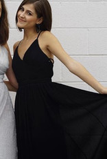 PLEATED BLACK MAXI