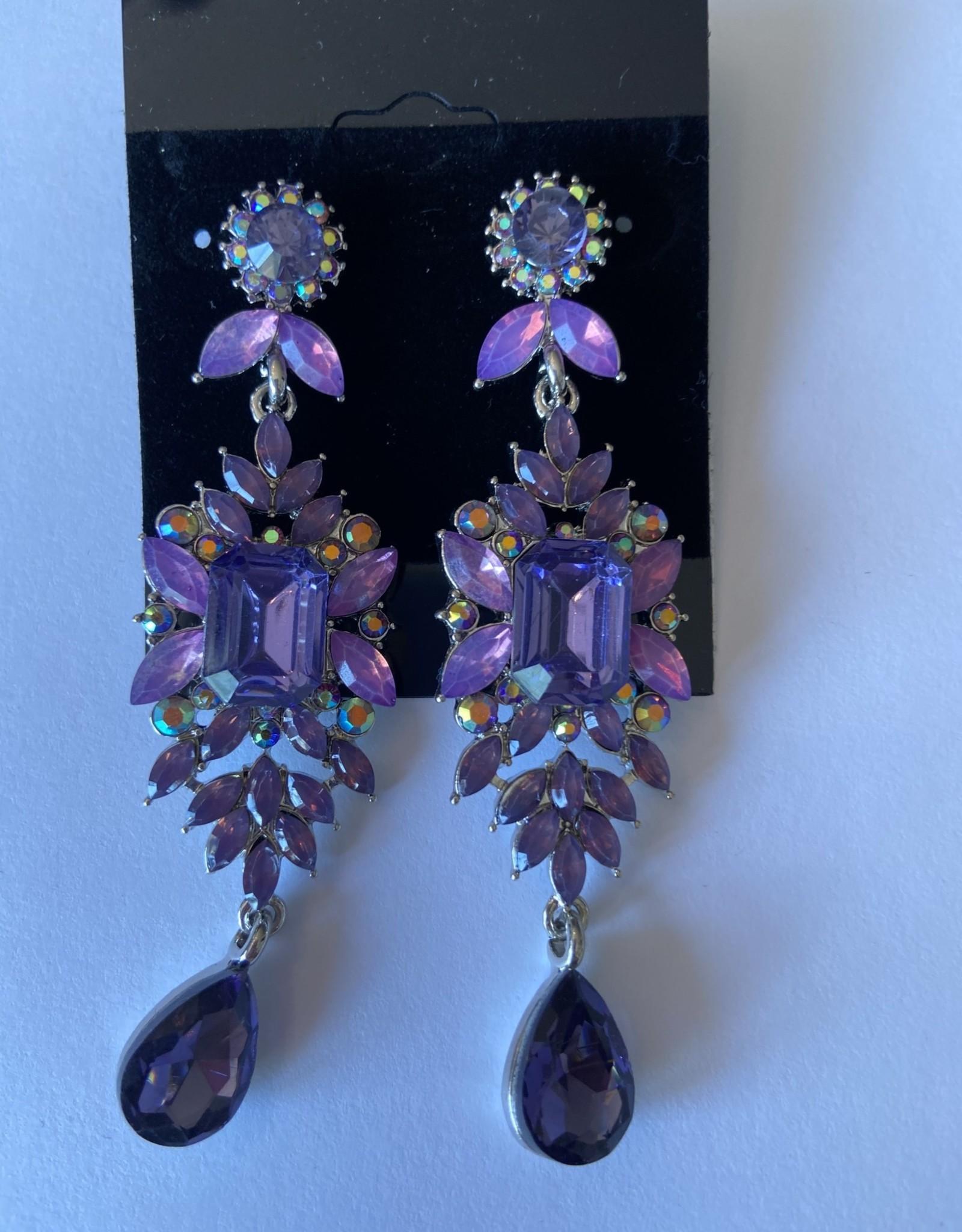 Purple Colored Flower Earrings