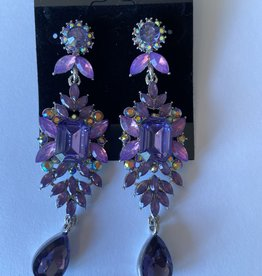 Purple Colored Flower Earrings