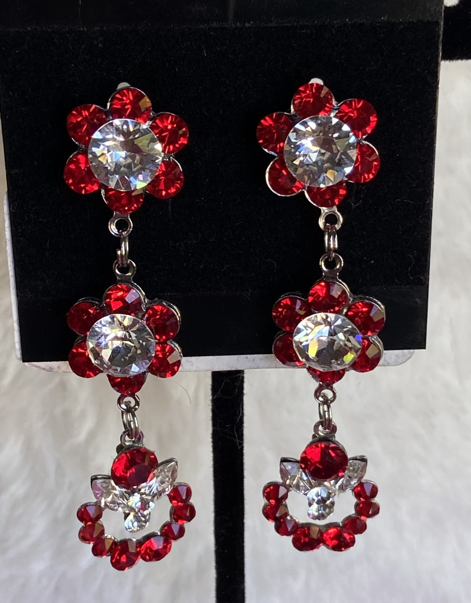 MHR Designs MHR DESIGNS Red/silver flowered dangle