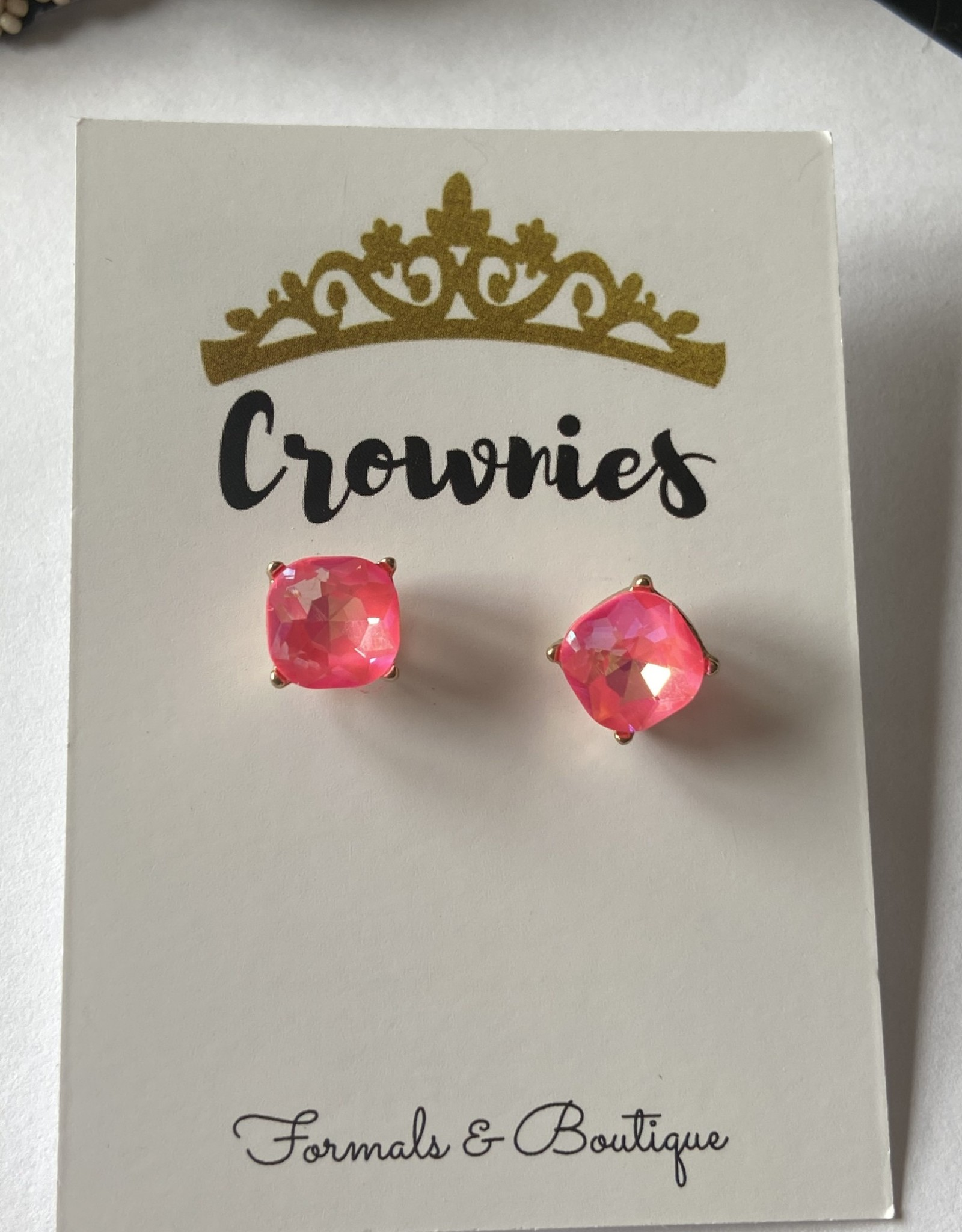 Crystal Studs Fluorescent Pink