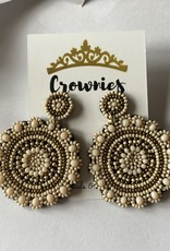Beaded Circle Earrings (Nude/Gold)