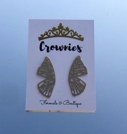 Brushed Butterfly Wing Earrings