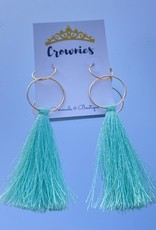 Teal Drop Tassel Earrings