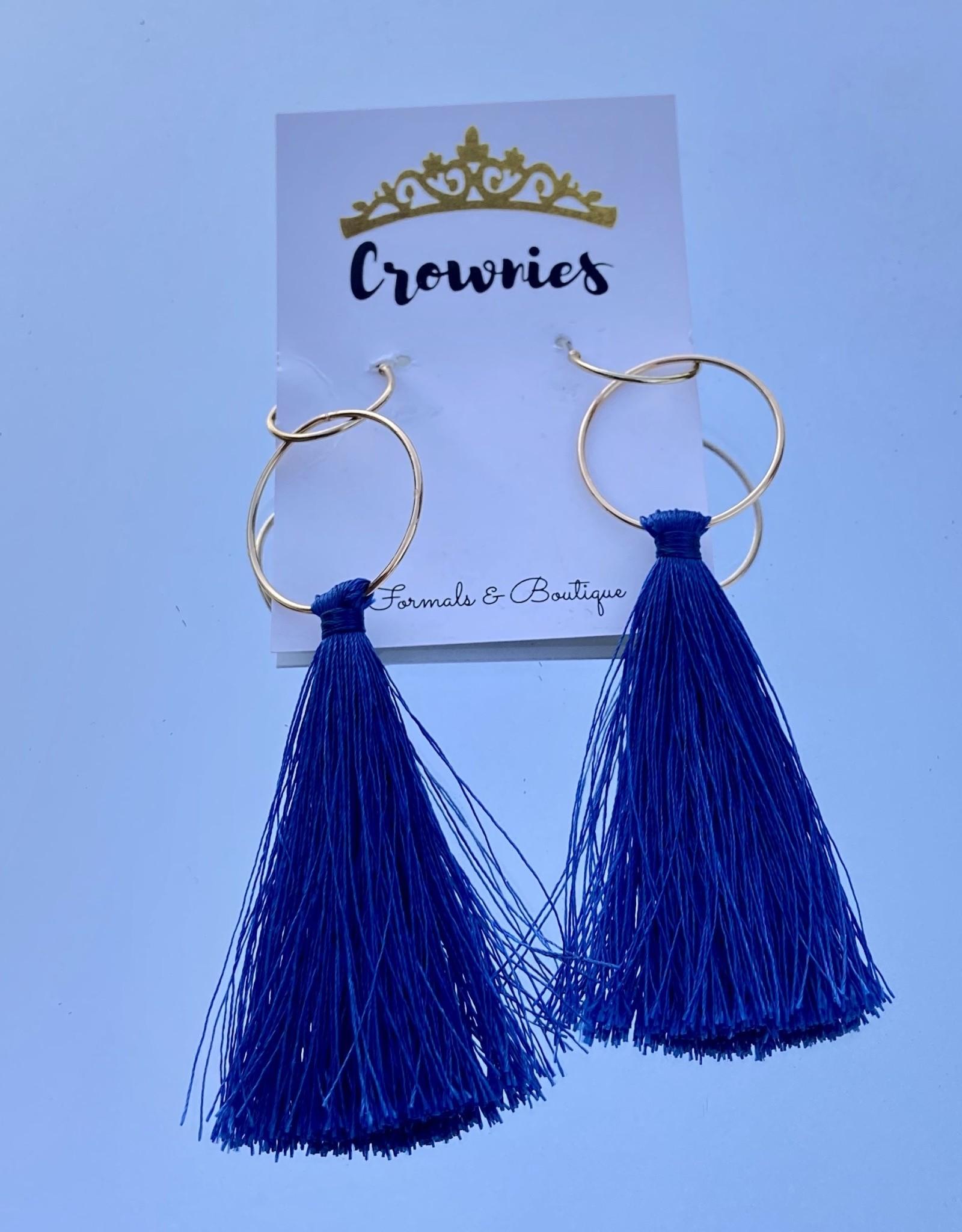 Navy Drop Tassel Earrings