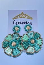 Turquoise Beaded Flower Earrings