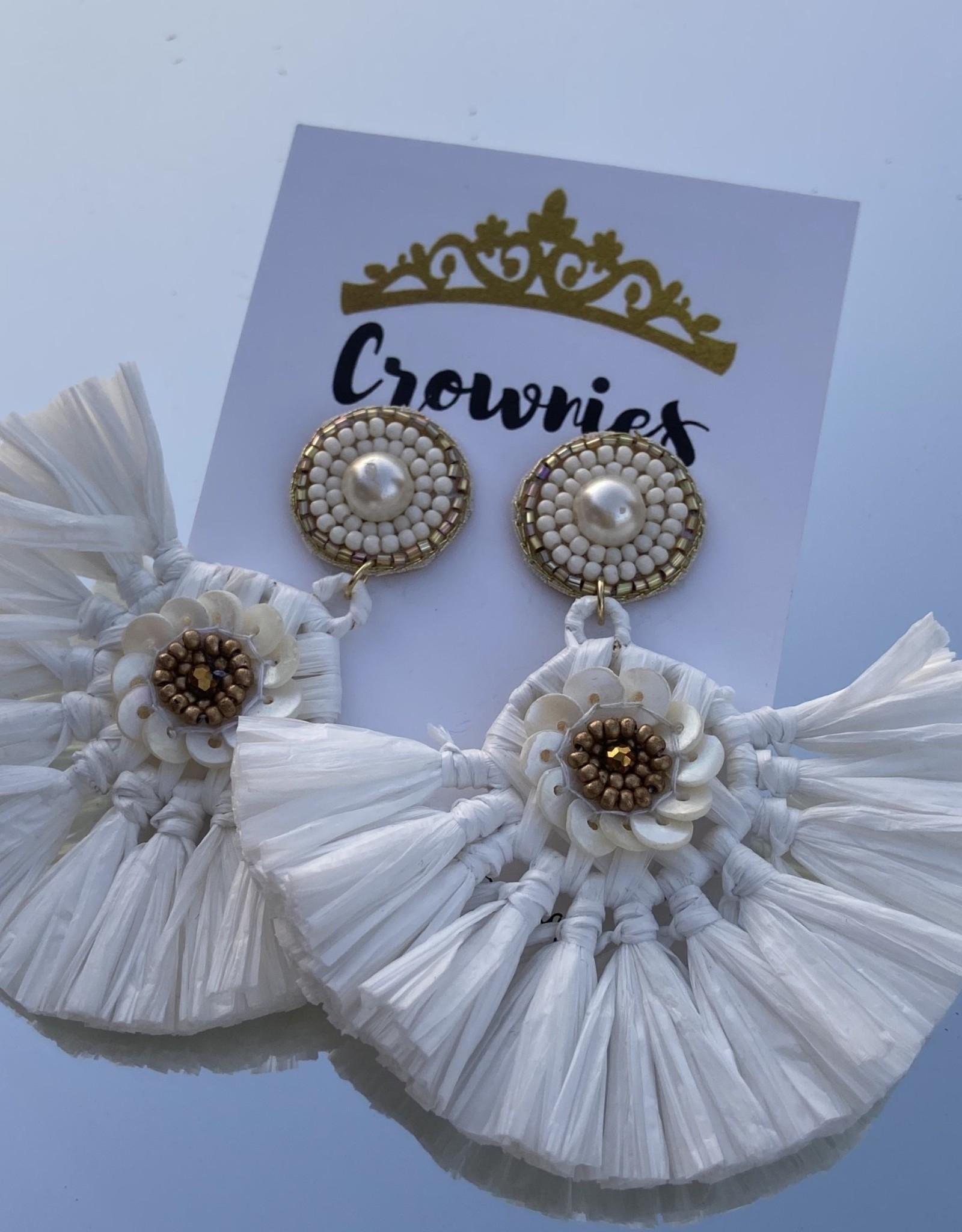 White Pearl Fan Earrings