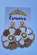 White and Gold Beaded Flower Earrings