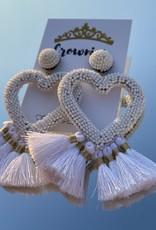 White Heart Tassel Earrings