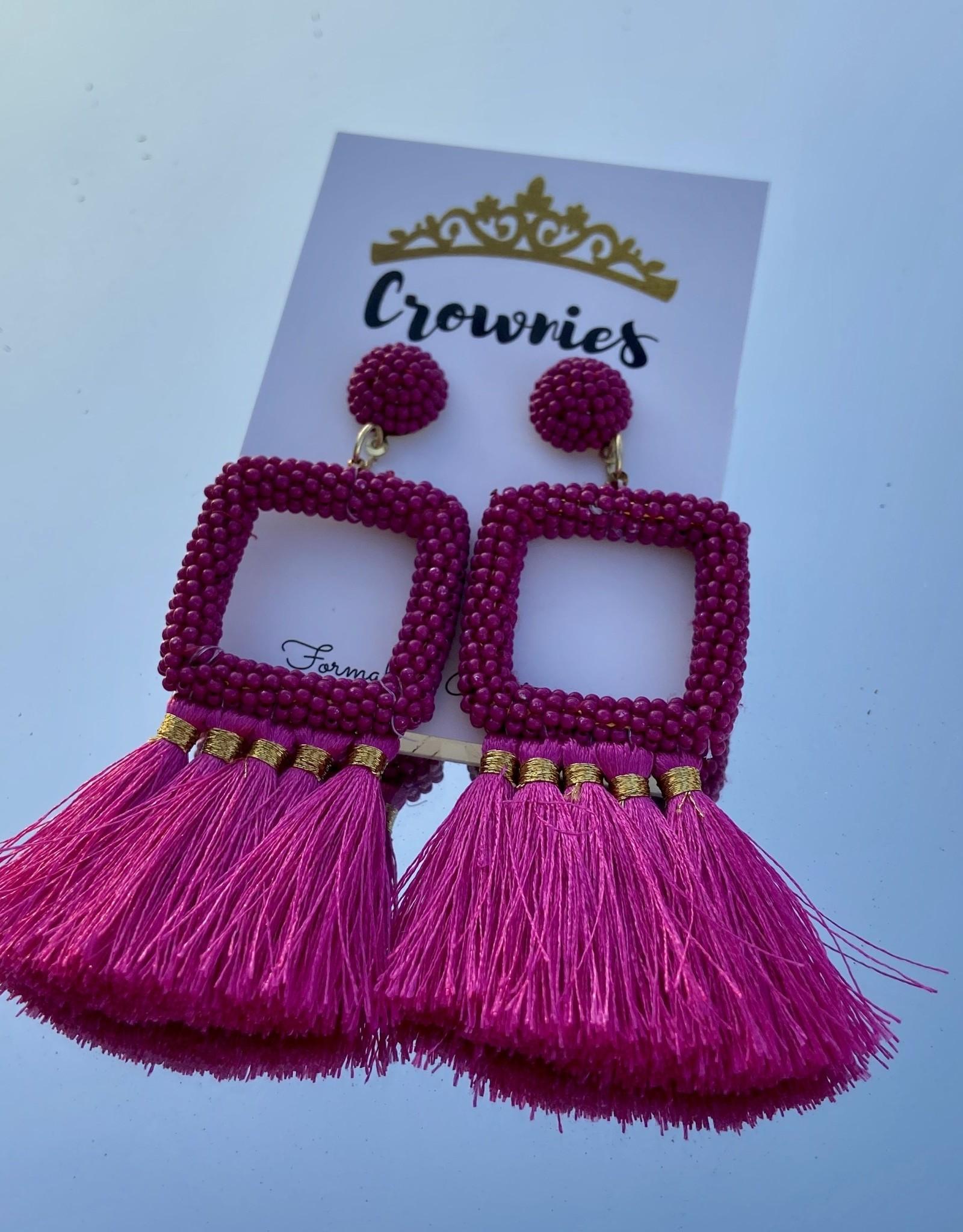 Fuchsia  Square Earrings