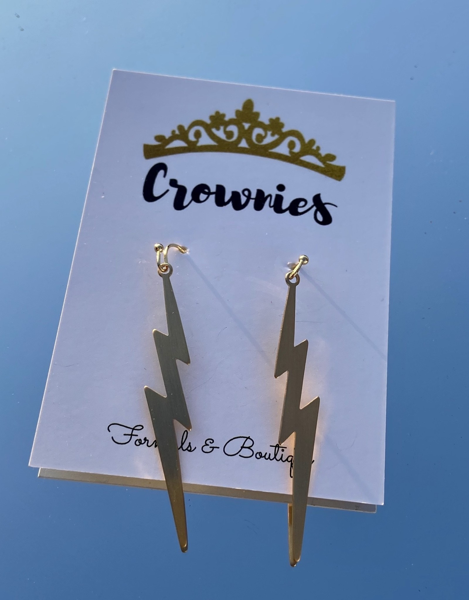 Gold Dangle Lightning  Bolt Earrings