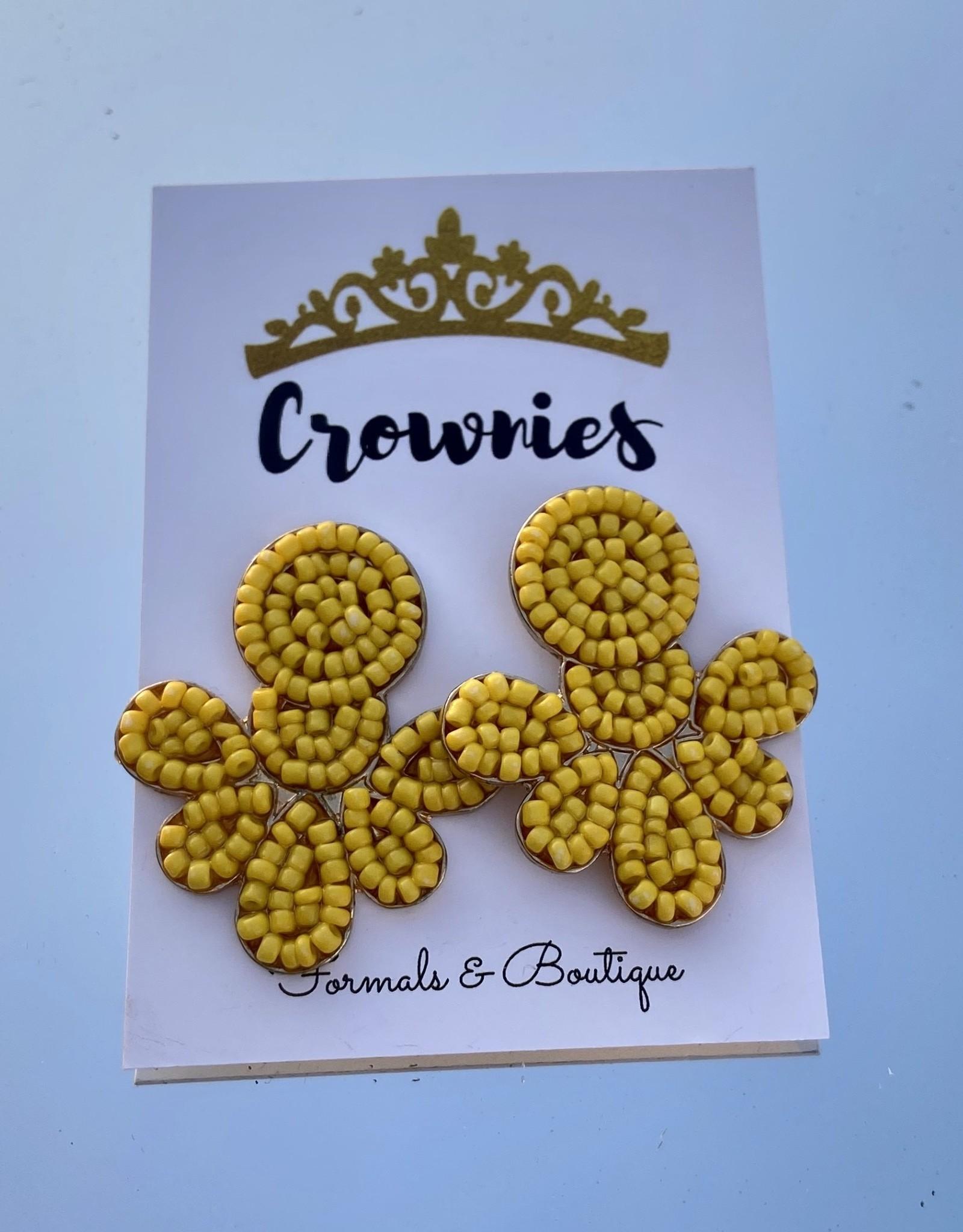 Yellow Beaded Geometric Earrings