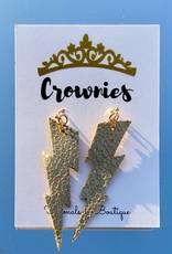 Lightning Bolt Leather Dangle Earrings (Gold)
