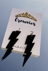 Leather Bolt Dangle Earrings (Black)