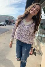 Lavender Leopard Fringe Sweater