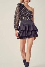 Ruffle Satin Skirt (black)