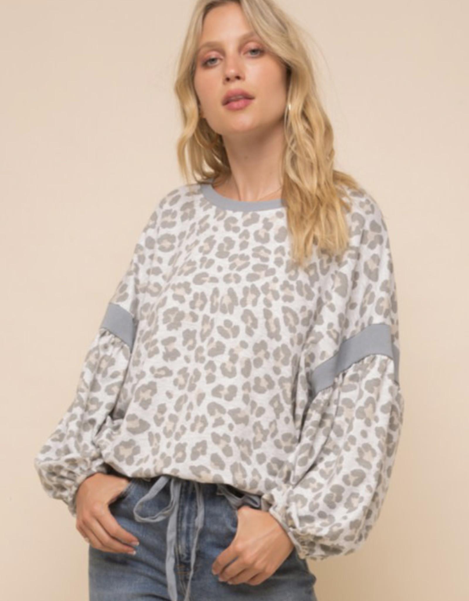 Leopard Balloon Sleeve Sweatshirt