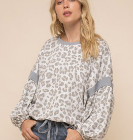 Leopard Balloon Sleeve Sweatshirt