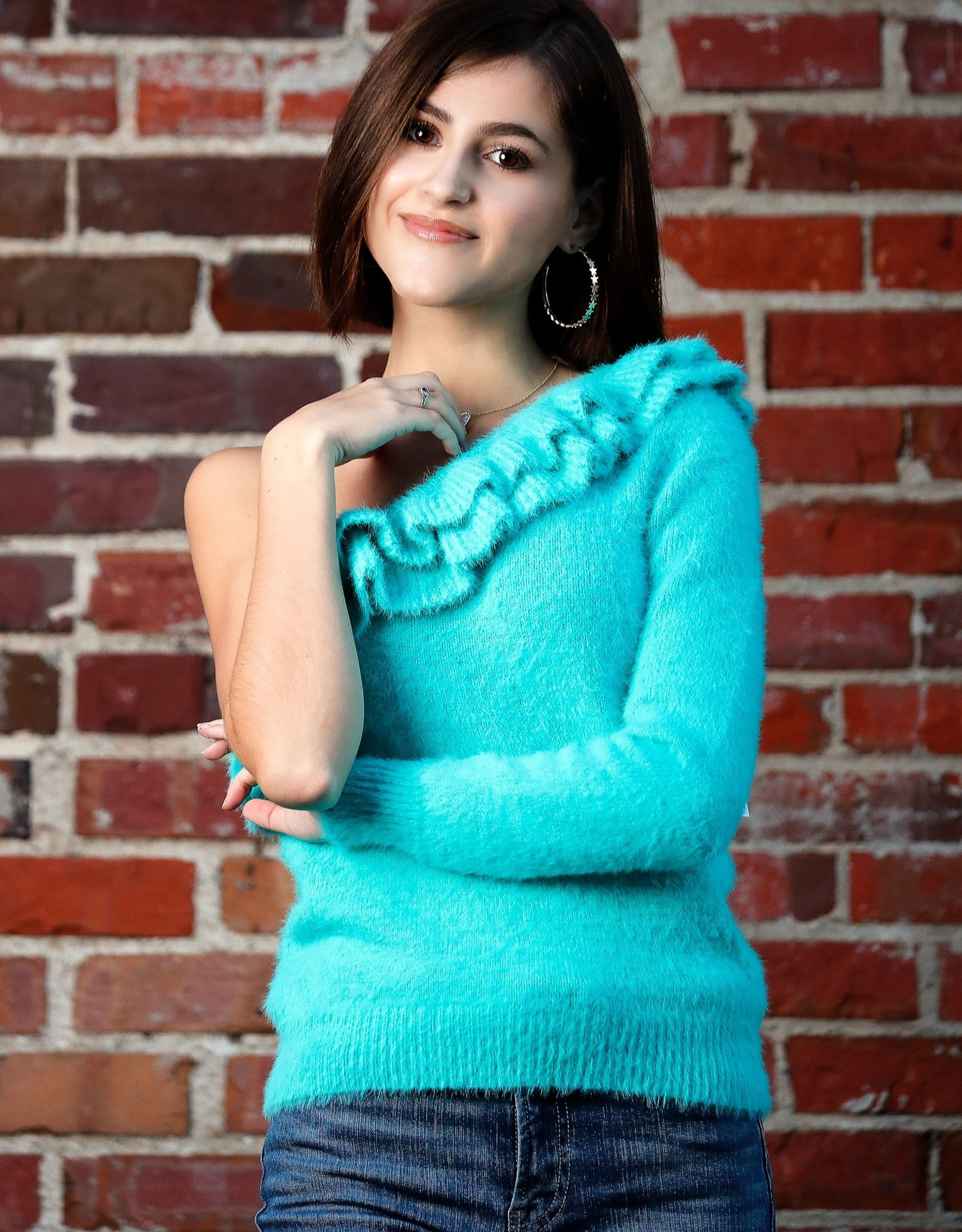 Ruffle My Feathers Aqua Sweater