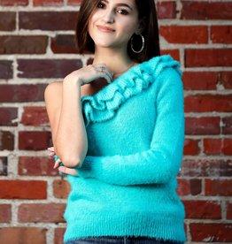 Ruffle My Feathers Aqua Sweater