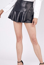 Ruffle Faux Leather Mini Skirt