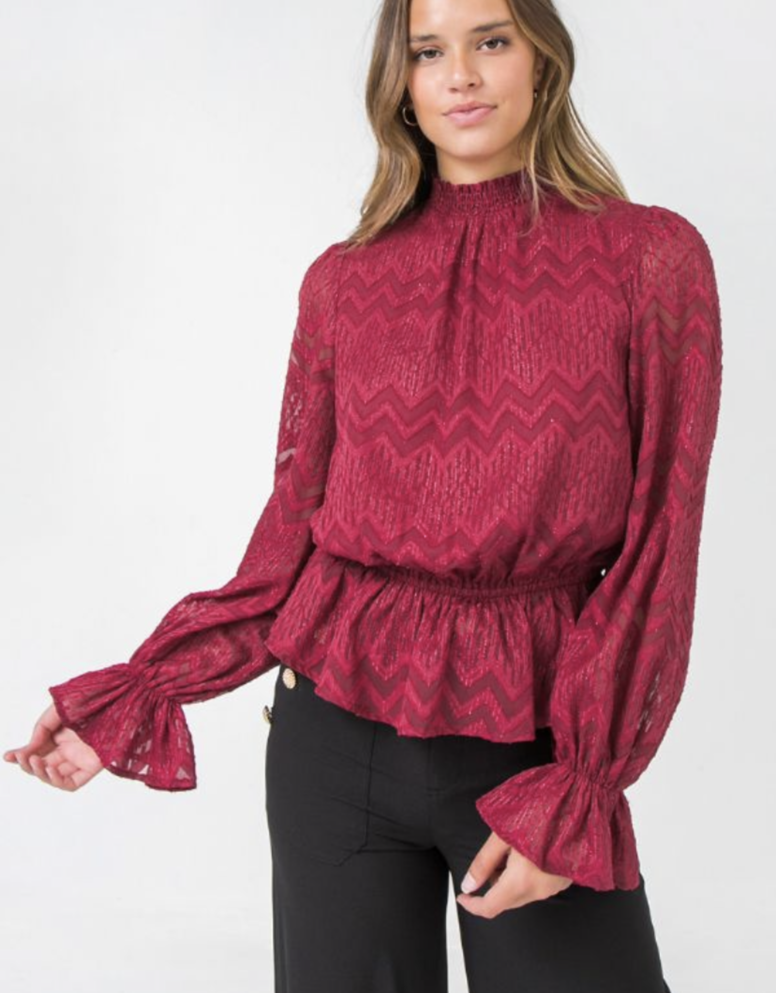Crimson Peplum Top