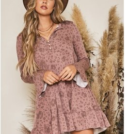 Dusty Print Swing Dress