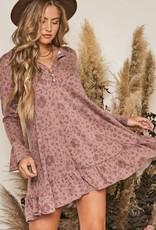 Dusty Print Swing Dress