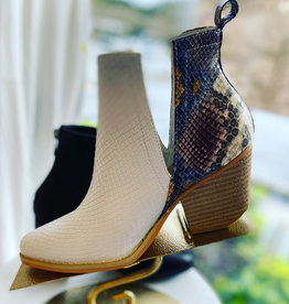 Lindsay Multi and White Snake Bootie