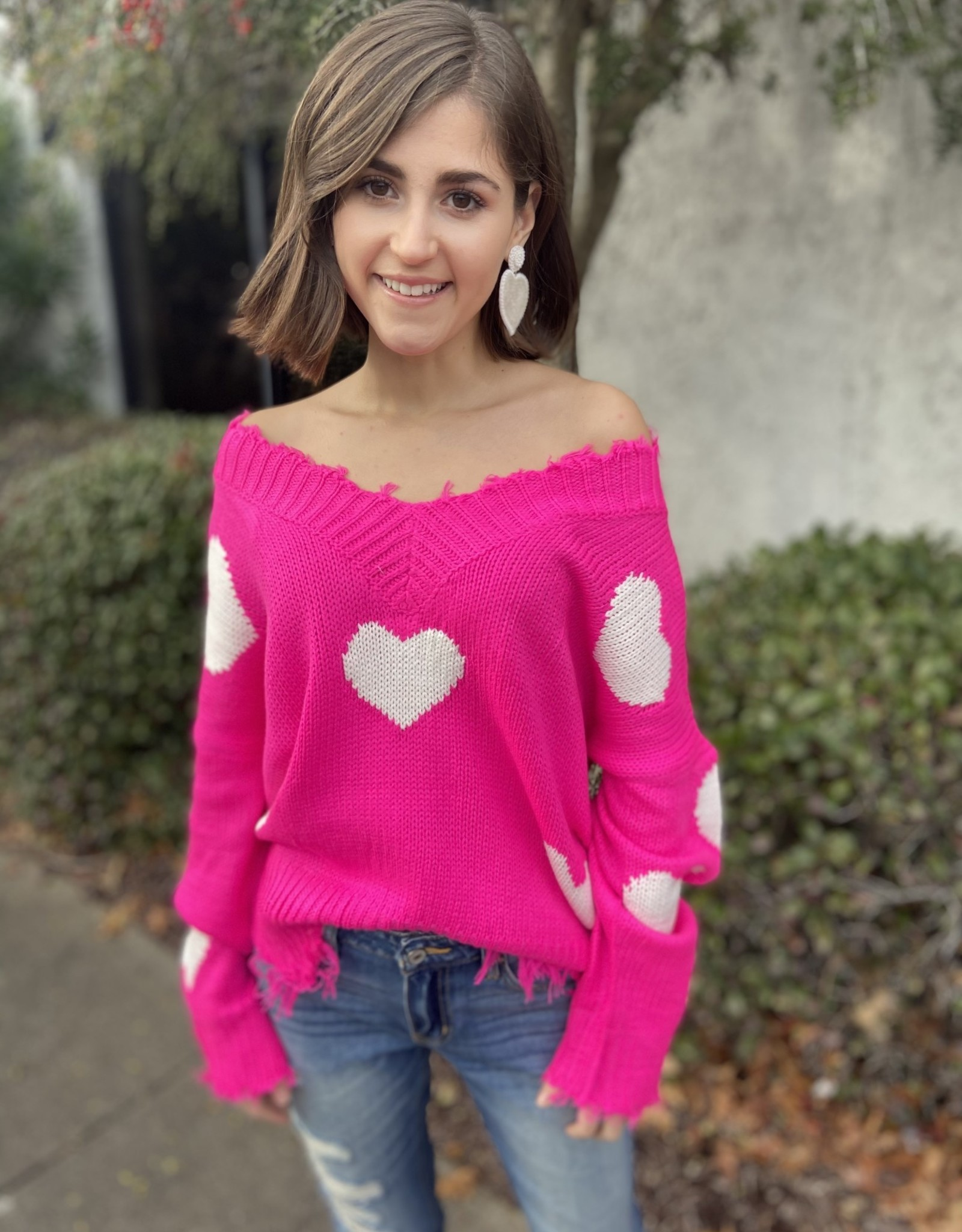 I Heart You Distressed Sweater