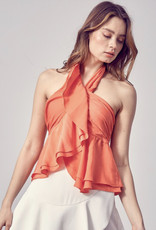 Hayden Halter Top (white and orange)