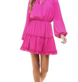 Perfectly Pink Ruffle Trim Dress