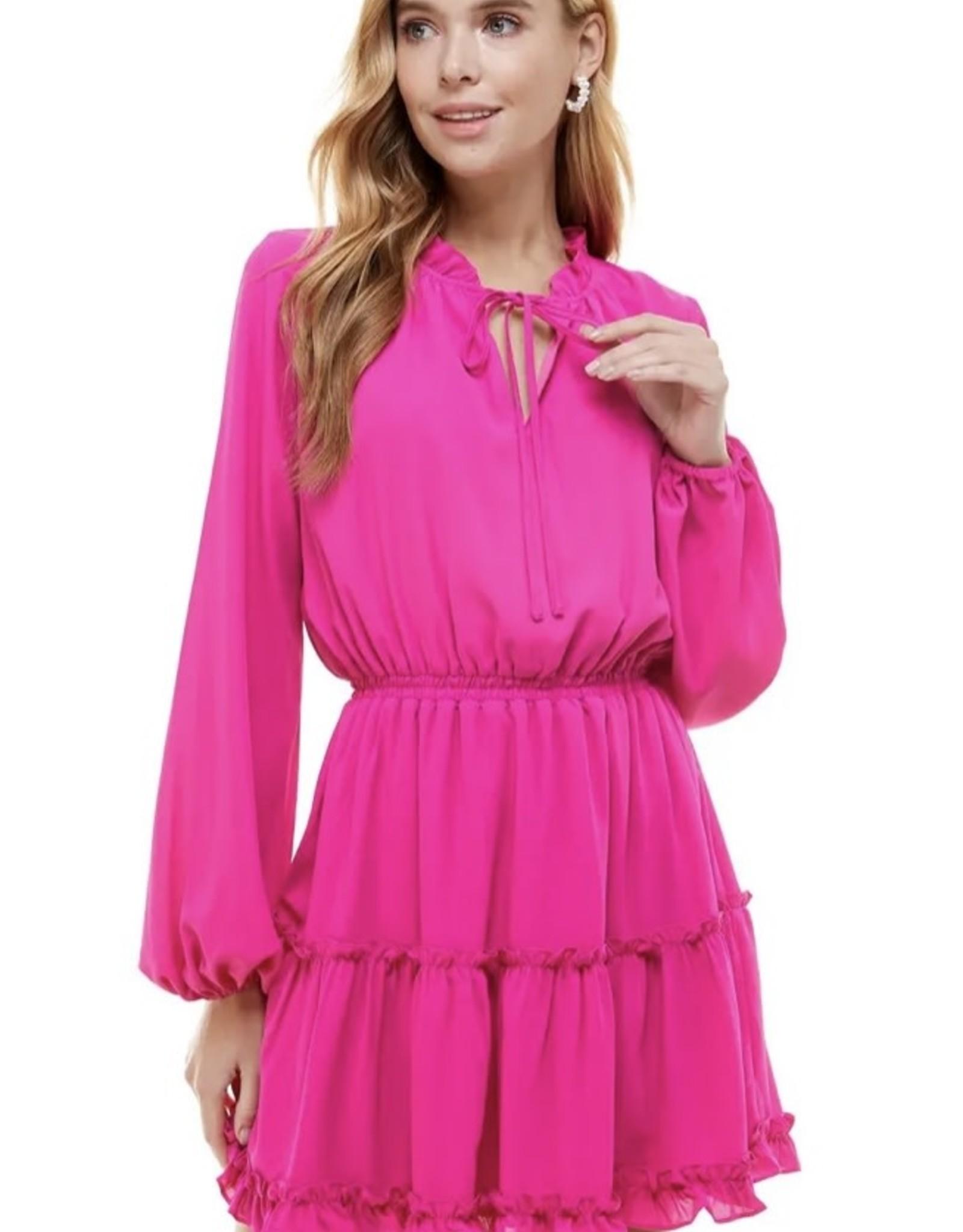 Perfectly Pink Ruffle Trim Dress