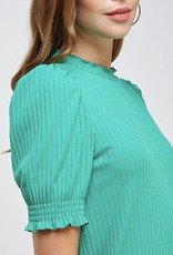 Ribbed High Neck  Top Green