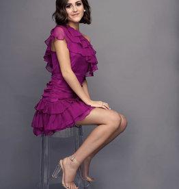 Maggie Magenta Ruffle Dress
