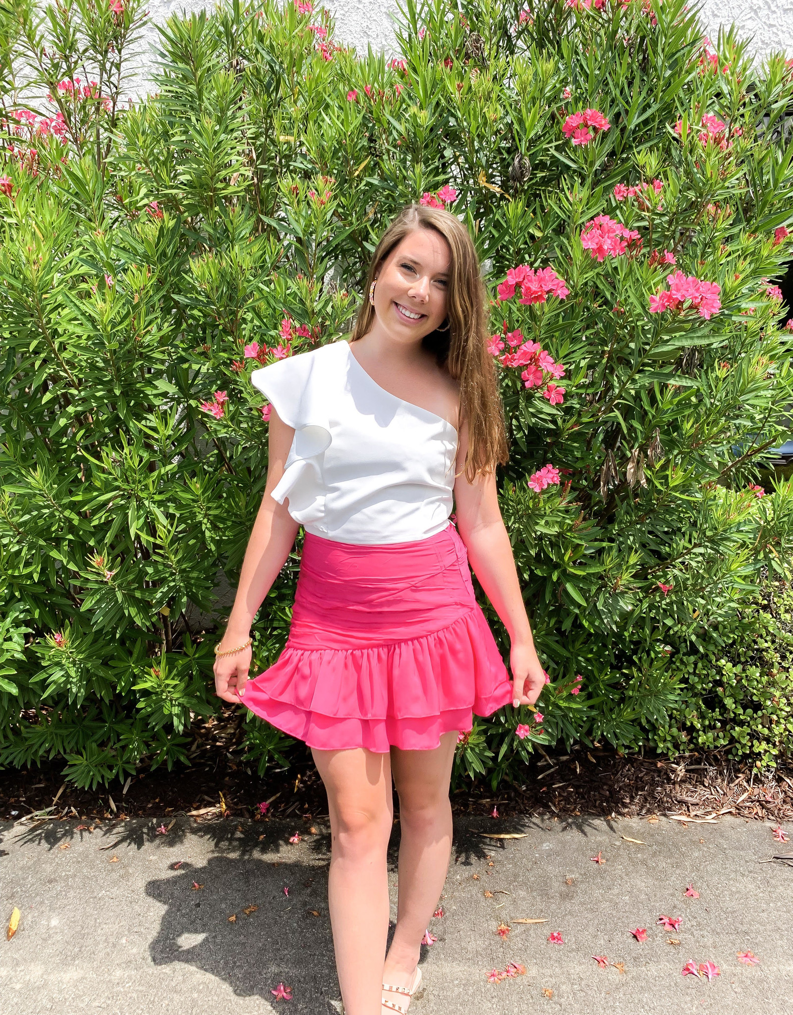 Ruched Ruffle Skirt Hot Pink