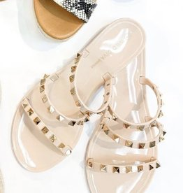 Gold Jeweled Nude Jelly  Sandal