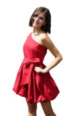 Red Velvet Bubble-ly One Shoulder Dress