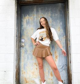 Ruffle Faux Leather Mini Skirt in