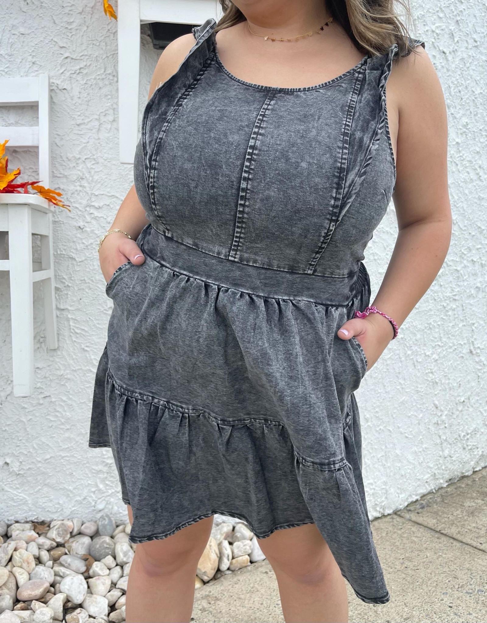 Brooke Black Denim Dress