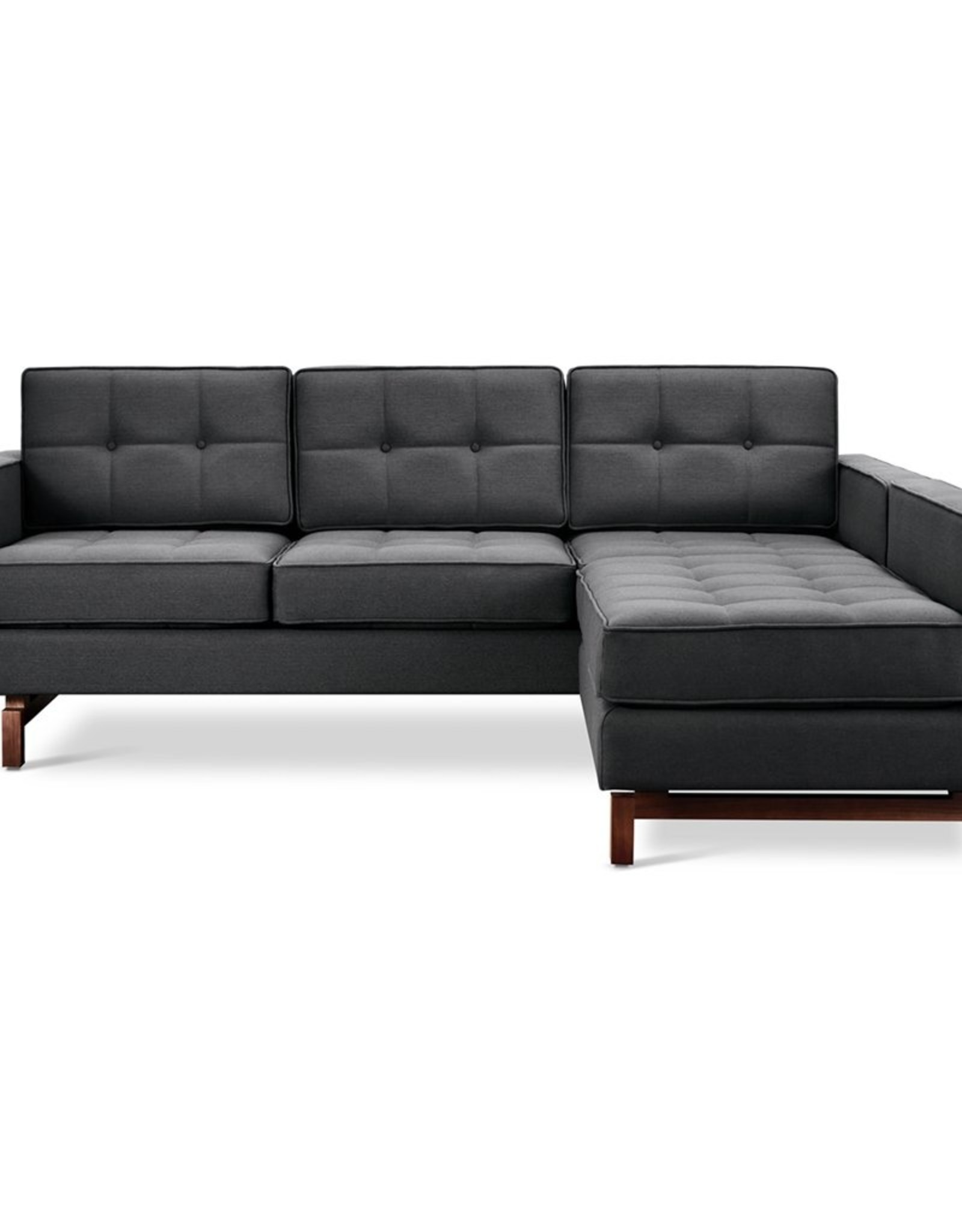 Gus* Modern Jane 2 LOFT Bi-Sectional, Walnut Base