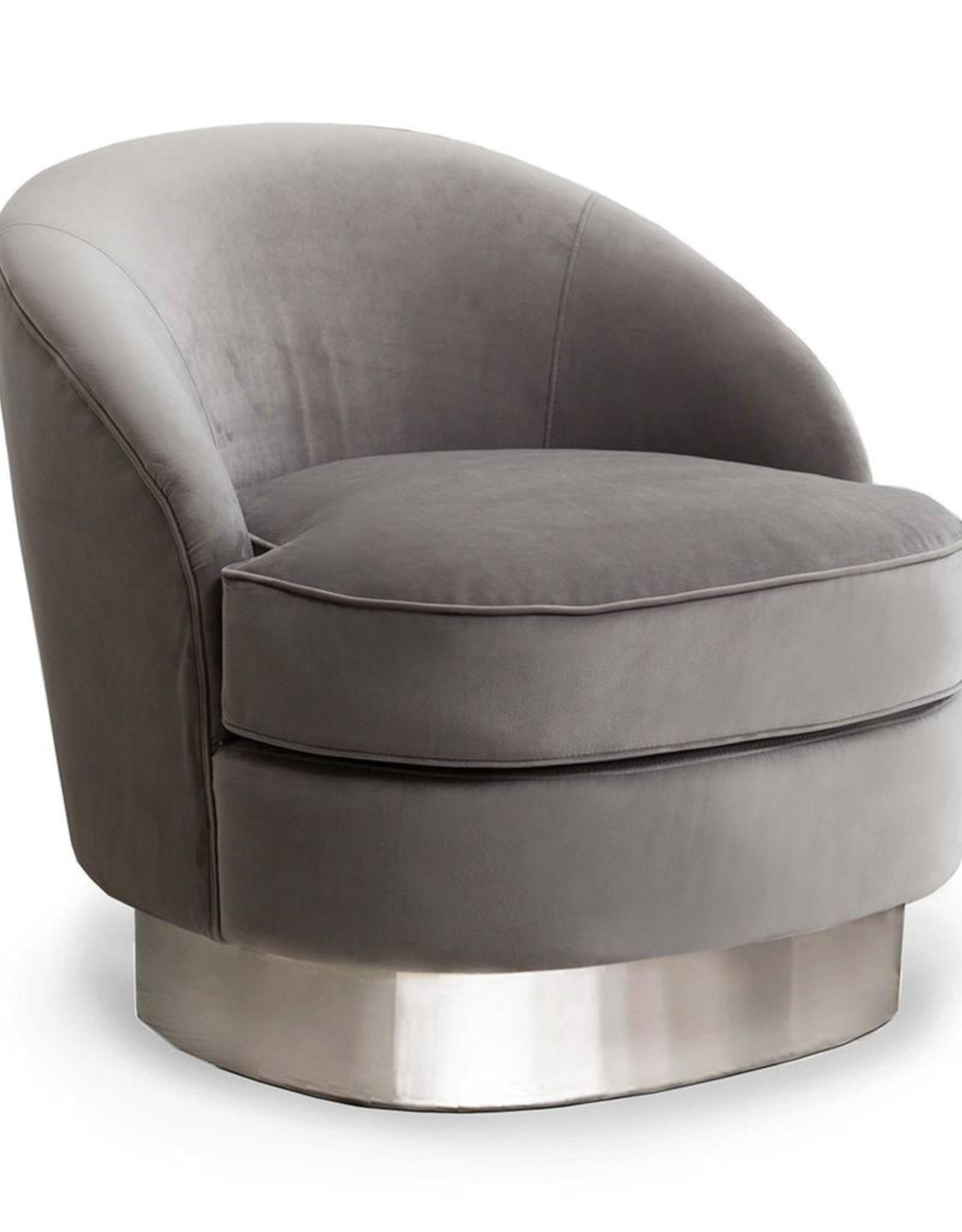 Regina Andrew Design Jacqueline Side Chair, Grey Velvet