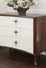 Global Views Klismos Three-Drawer Cabinet, Walnut/Ivory