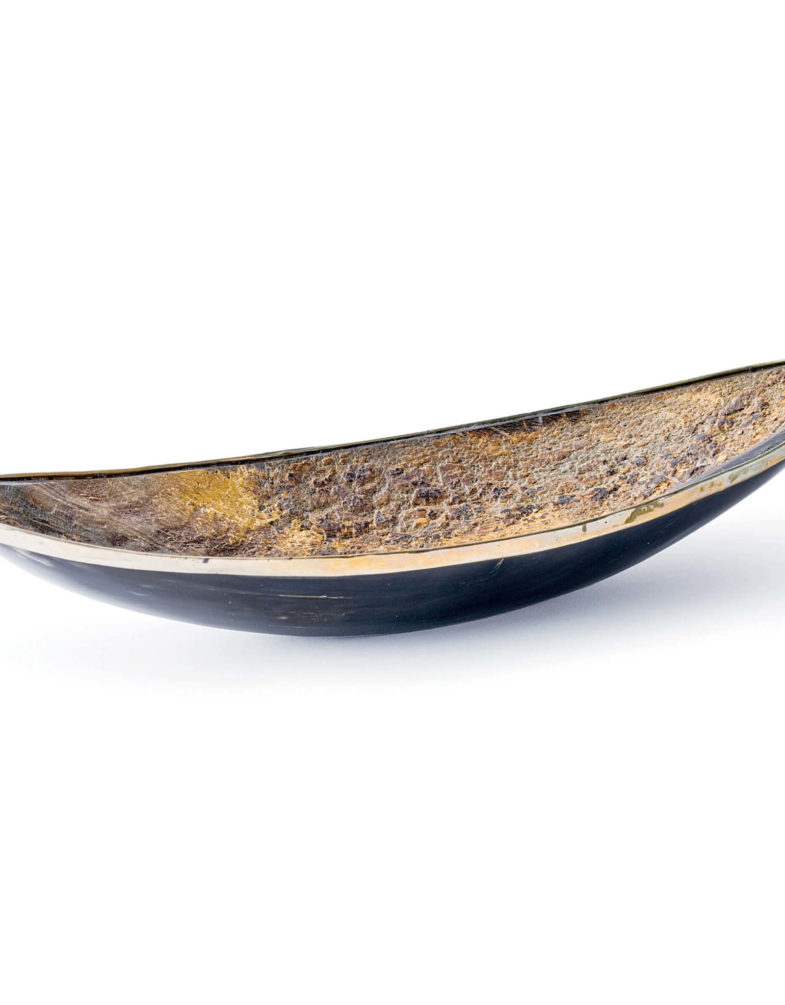 Regina Andrew Design Elongated Horn Dish With Brass Trim