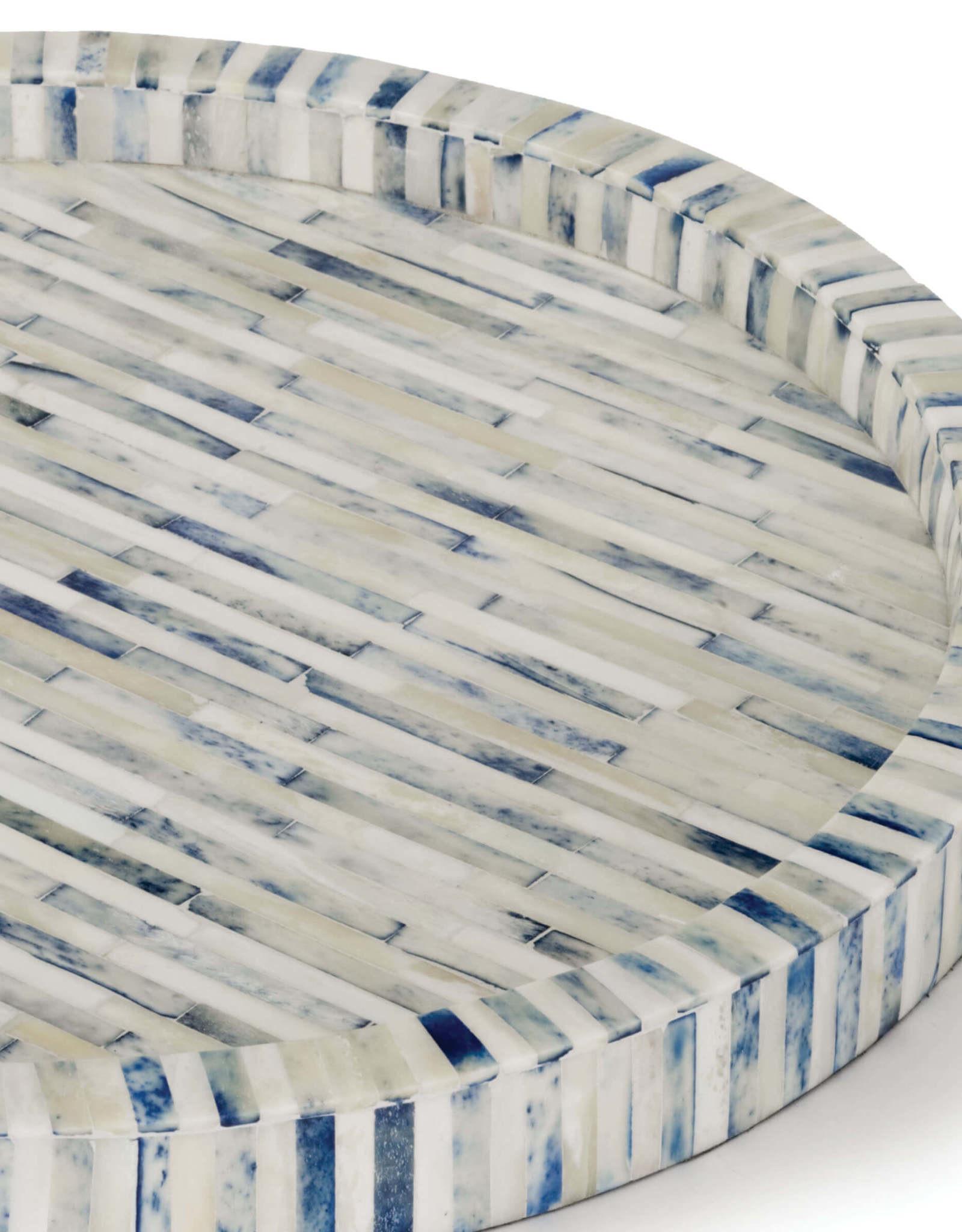 Regina Andrew Design Bone & Indigo Tray Round