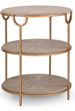 Regina Andrew Design Vogue Shagreen Side Table (Ivory Grey & Brass)