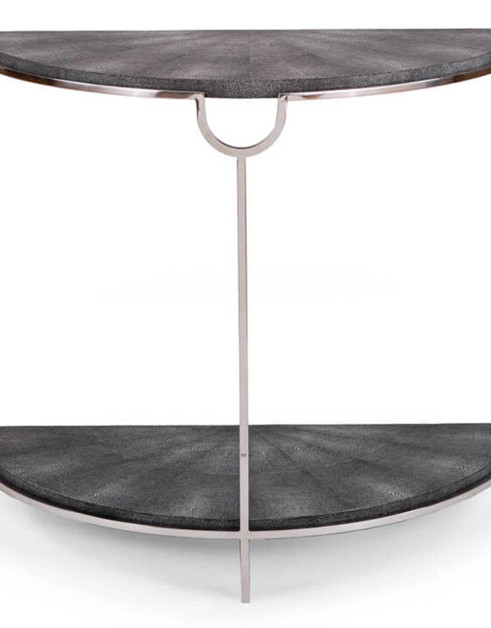 Regina Andrew Design Vogue Shagreen Demilune Console (Charcoal & Polished Nickel)