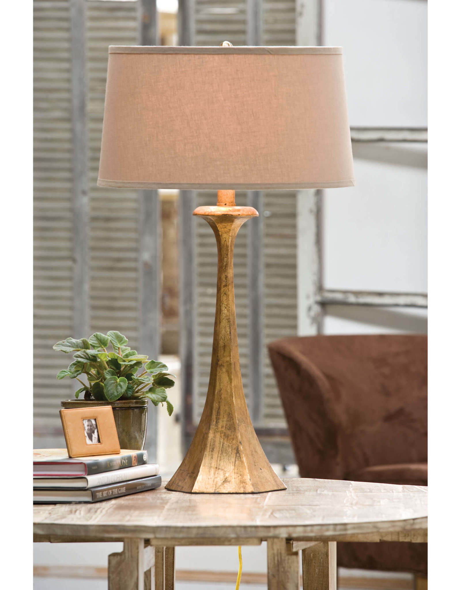Regina Andrew Design Tapered Hex Column Table Lamp (Antique Gold Leaf)