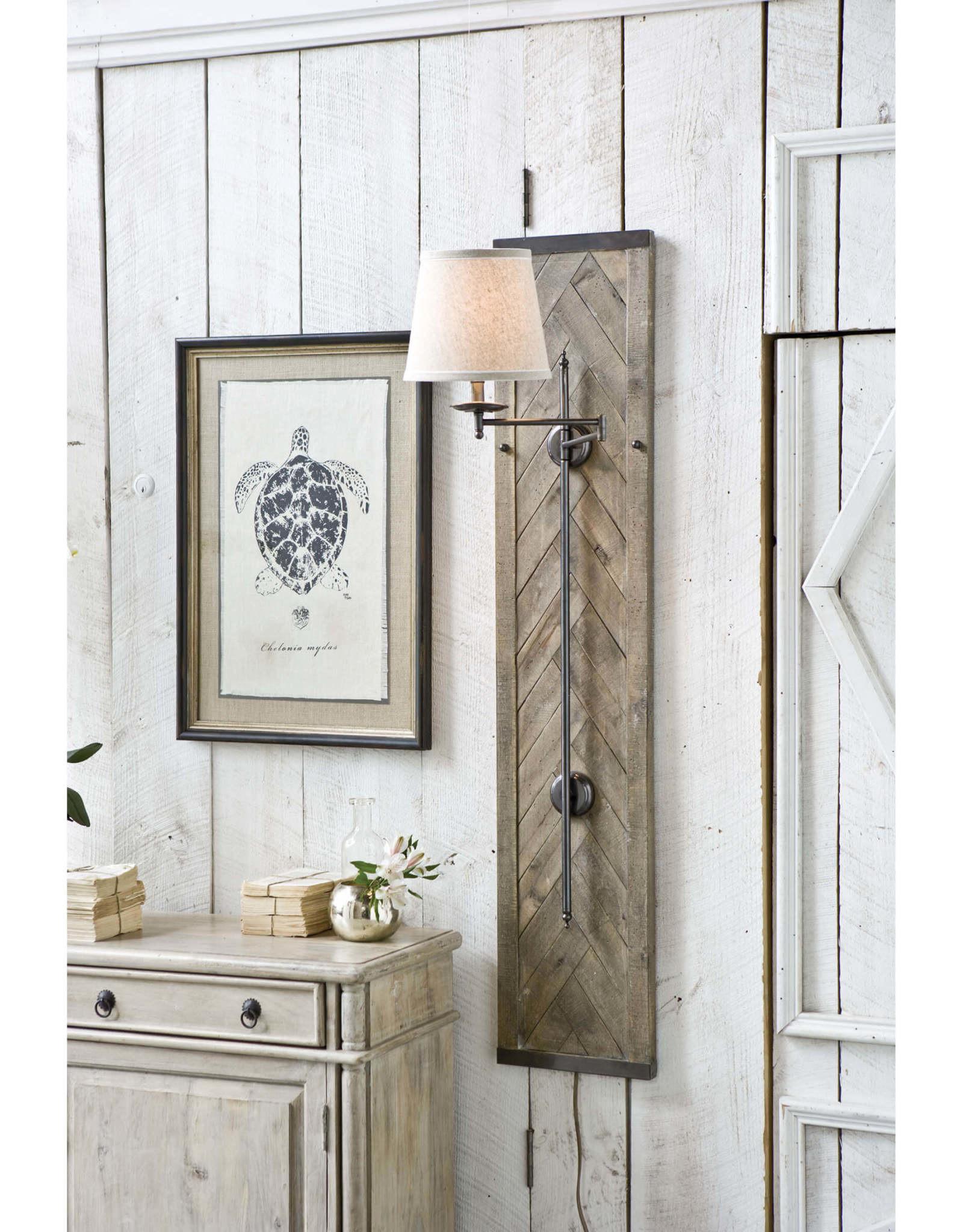 Regina Andrew Design Herringbone Wood Panel Swing Arm Sconce