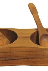 Be Home Teak Salt & Pepper Cellar w/ Spoons